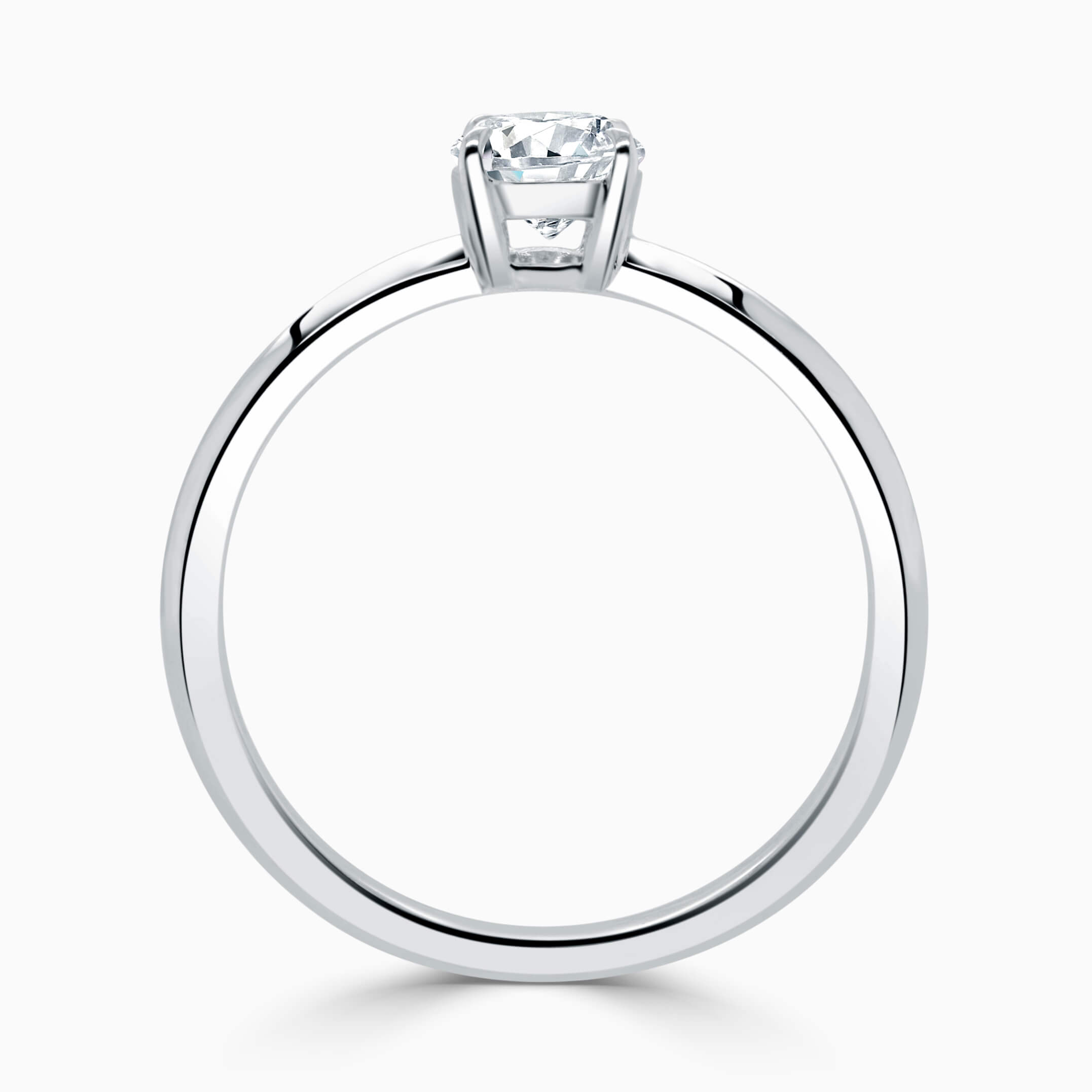 Platinum Oval Shape Basket With Tapered Pave Engagement Ring