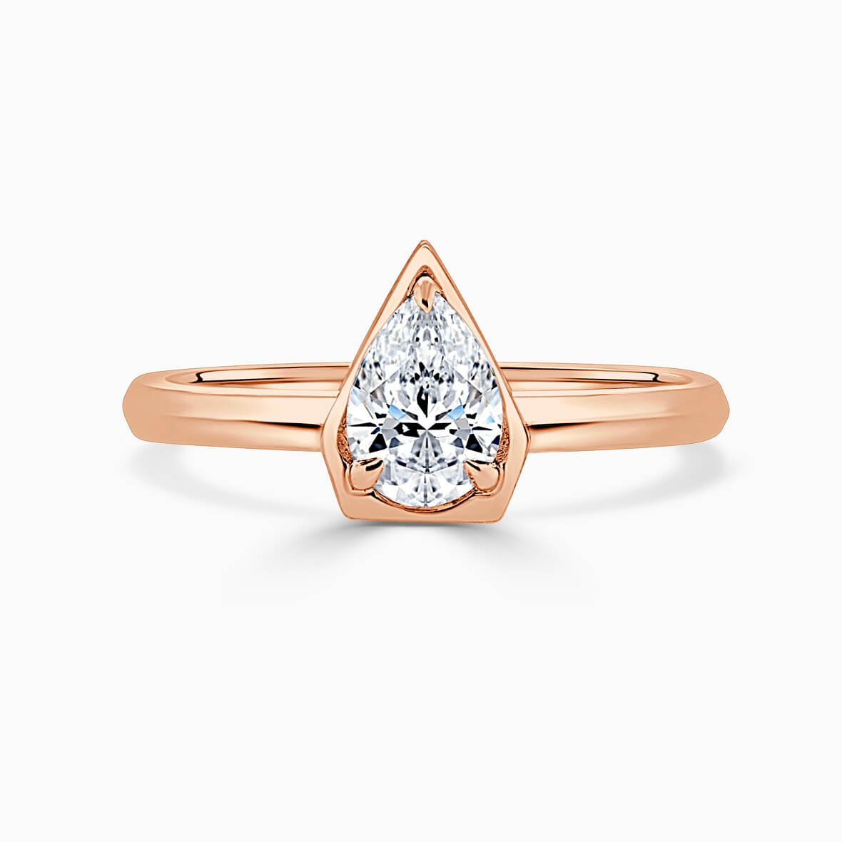 18ct Rose Gold Pear Shape Knife Edge Geo Engagement Ring