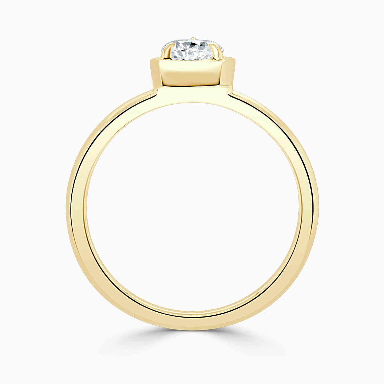 18ct Yellow Gold Pear Shape Knife Edge Geo Engagement Ring