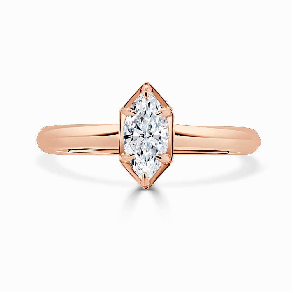 18ct Rose Gold Marquise Cut Knife Edge Geo Engagement Ring