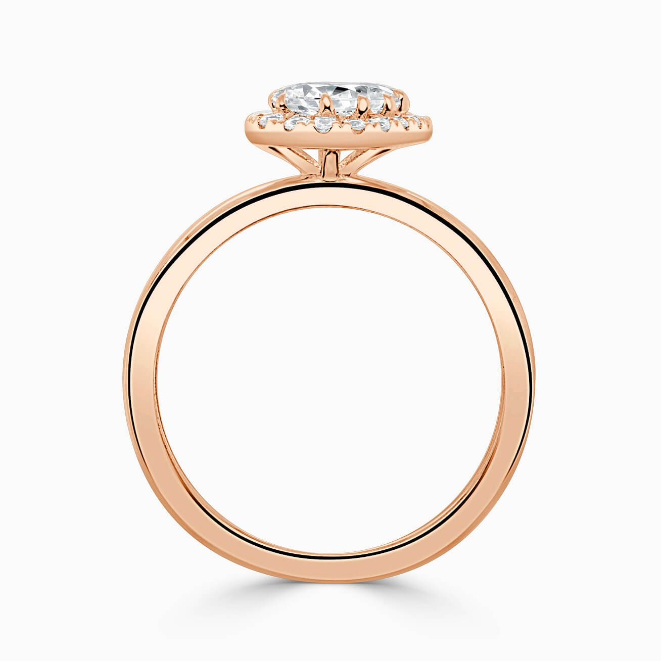 18ct Rose Gold Pear Shape Side Halo Engagement Ring