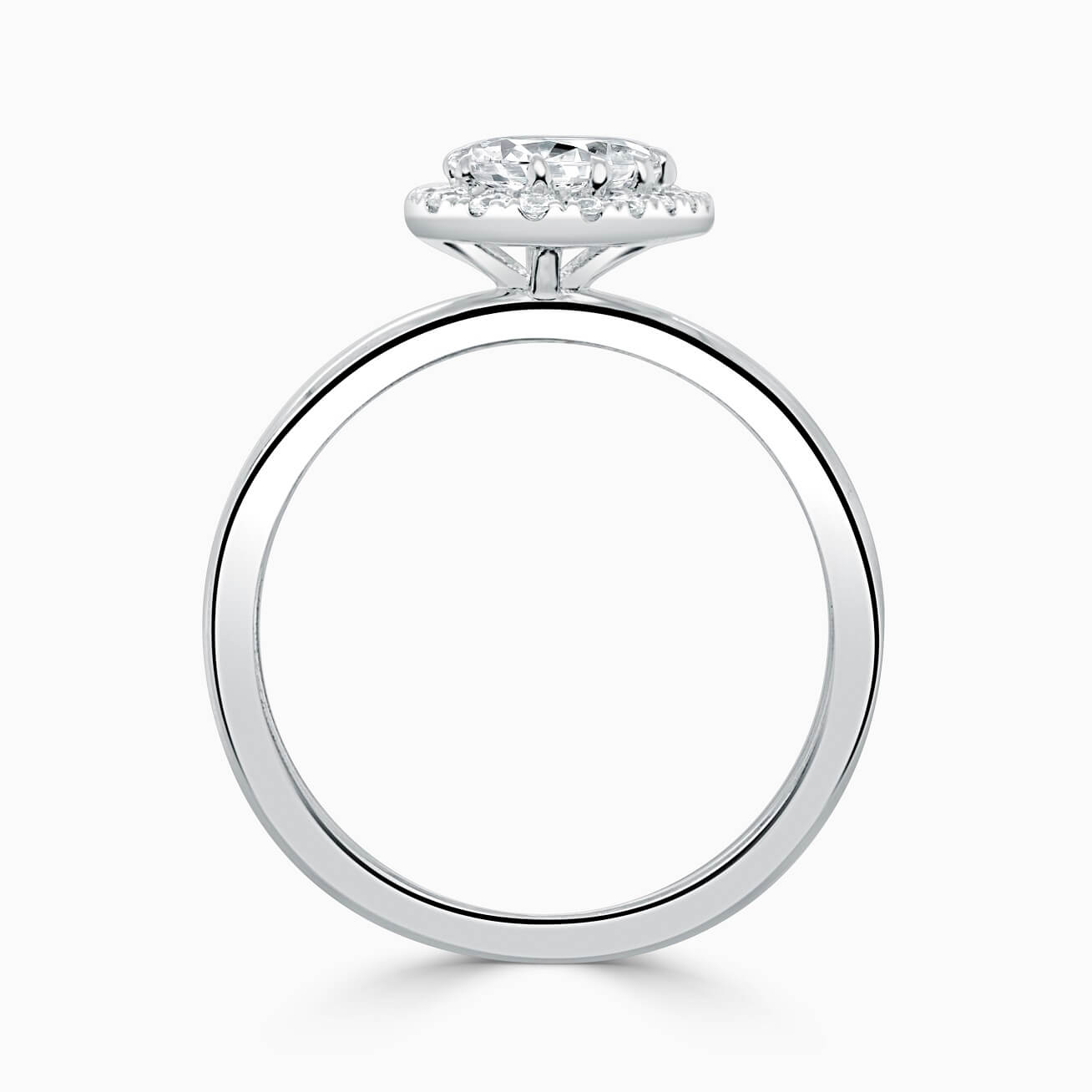 18ct White Gold Pear Shape Side Halo Engagement Ring
