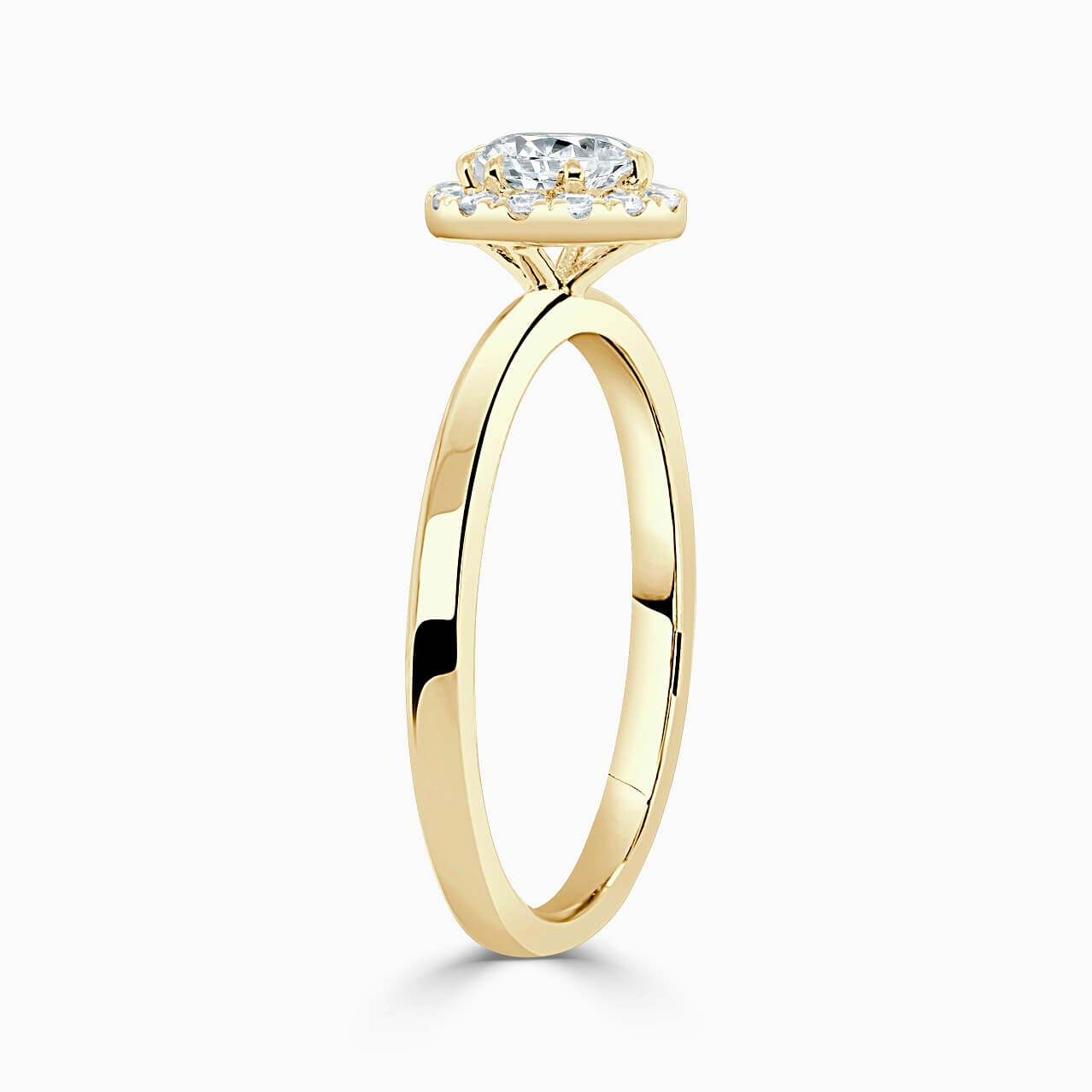 18ct Yellow Gold Pear Shape Side Halo Engagement Ring