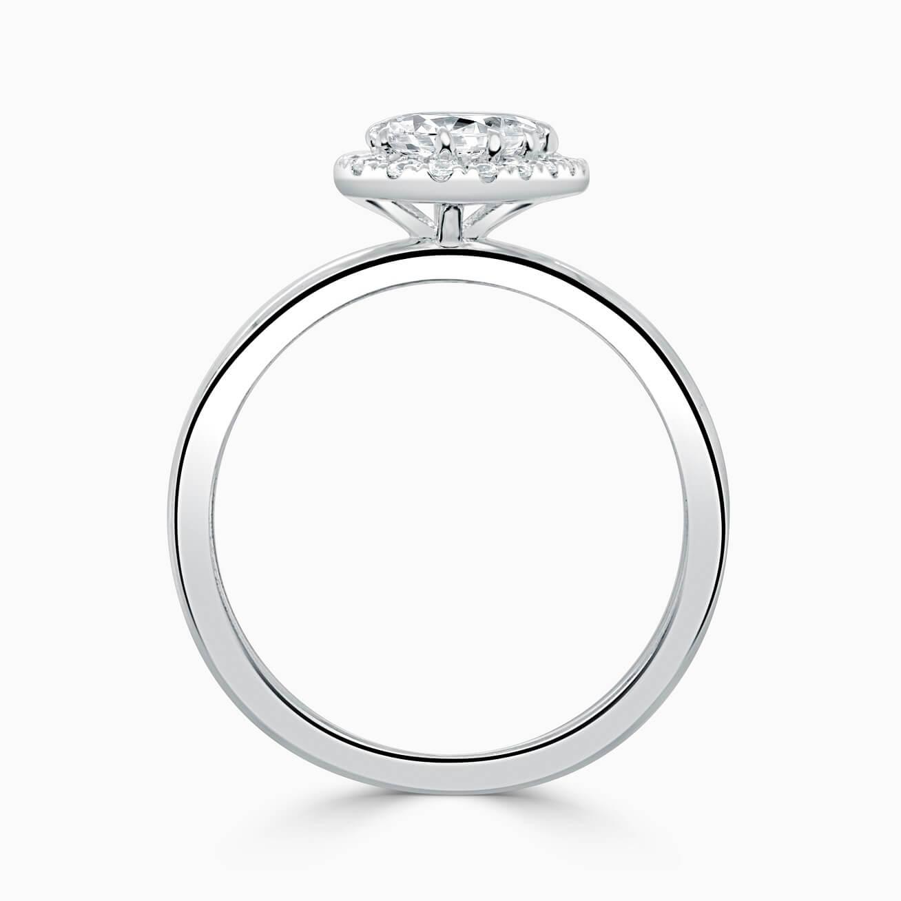 Platinum Pear Shape Side Halo Engagement Ring
