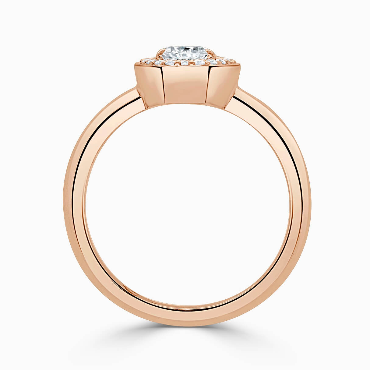 18ct Rose Gold Pear Shape Knife Edge Geo Halo Engagement Ring