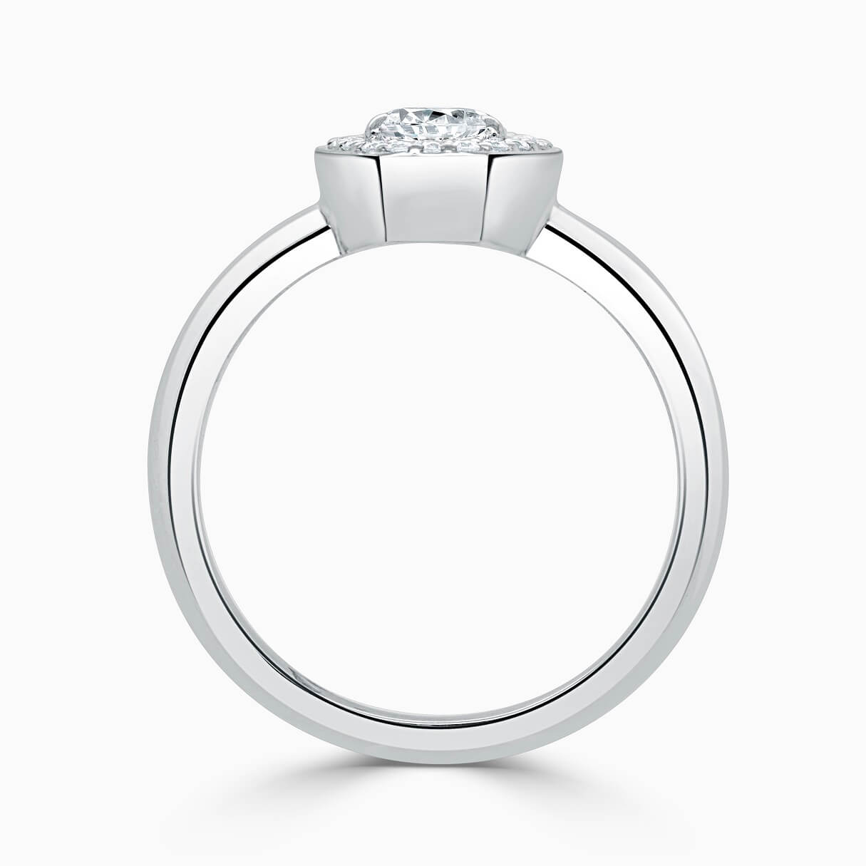 18ct White Gold Pear Shape Knife Edge Geo Halo Engagement Ring