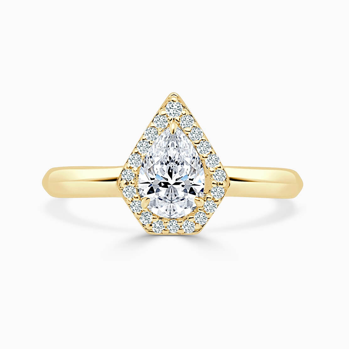 18ct Yellow Gold Pear Shape Knife Edge Geo Halo Engagement Ring