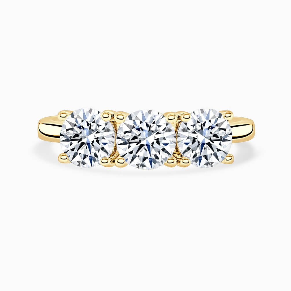 18ct Yellow Gold Round Brilliant 3 Stone Crossover Engagement Ring