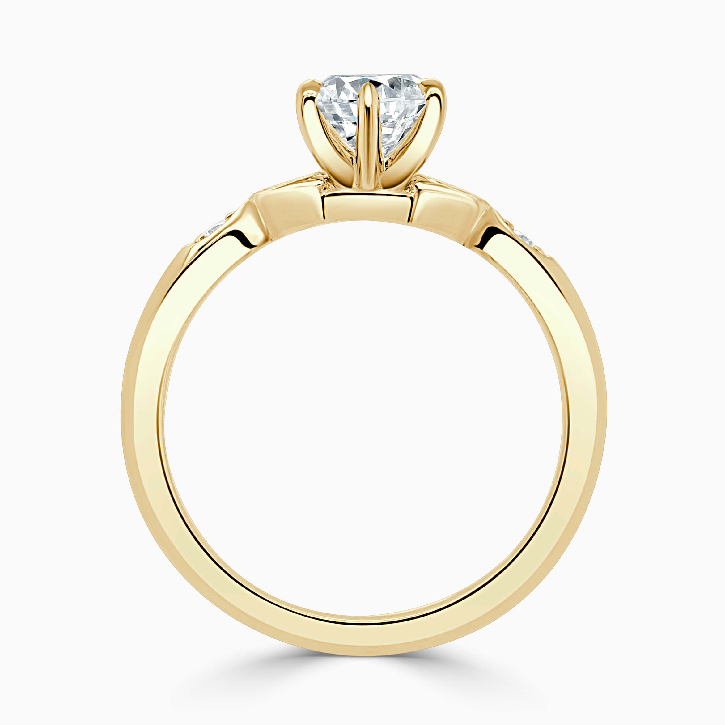 18ct Yellow Gold Round Brilliant 6 Claw With Vintage Pave Engagement Ring
