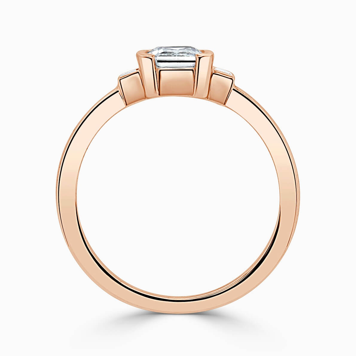 18ct Rose Gold Radiant Cut Art Deco 3 Stone With Baguettes Engagement Ring