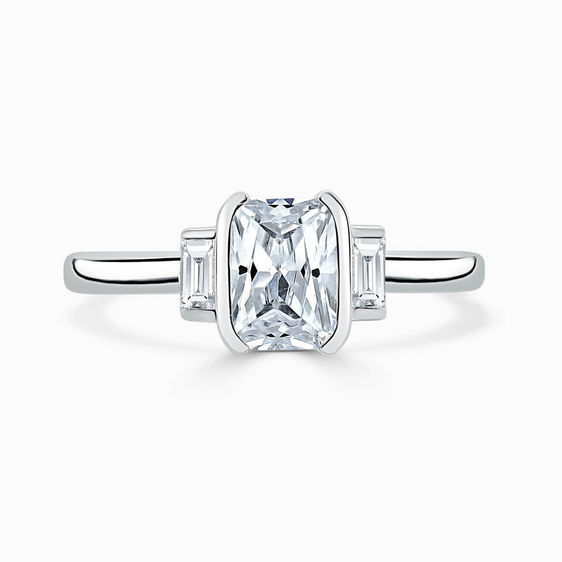 18ct White Gold Radiant Cut Art Deco 3 Stone With Baguettes Engagement Ring