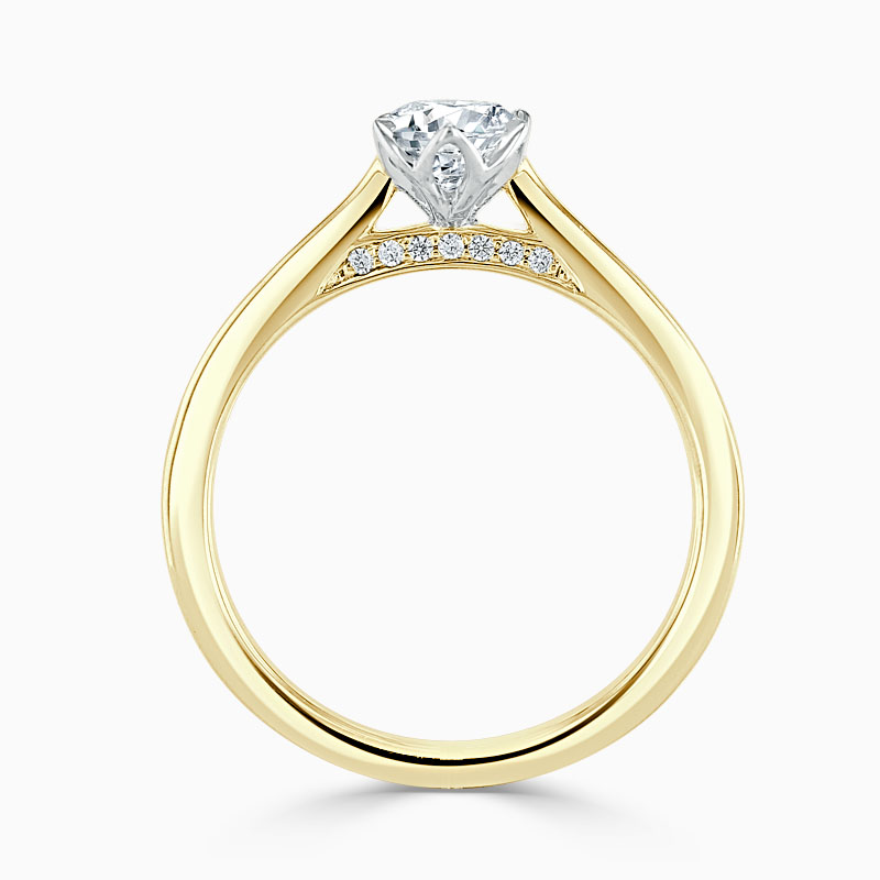 18ct Yellow Gold Oval Shape Diamond Set Lotus Engagement Ring