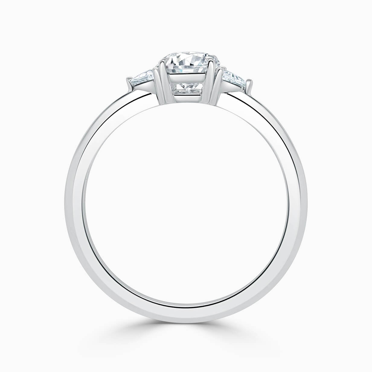 Platinum Oval Shape 3 Stone With Trillions Engagement Ring