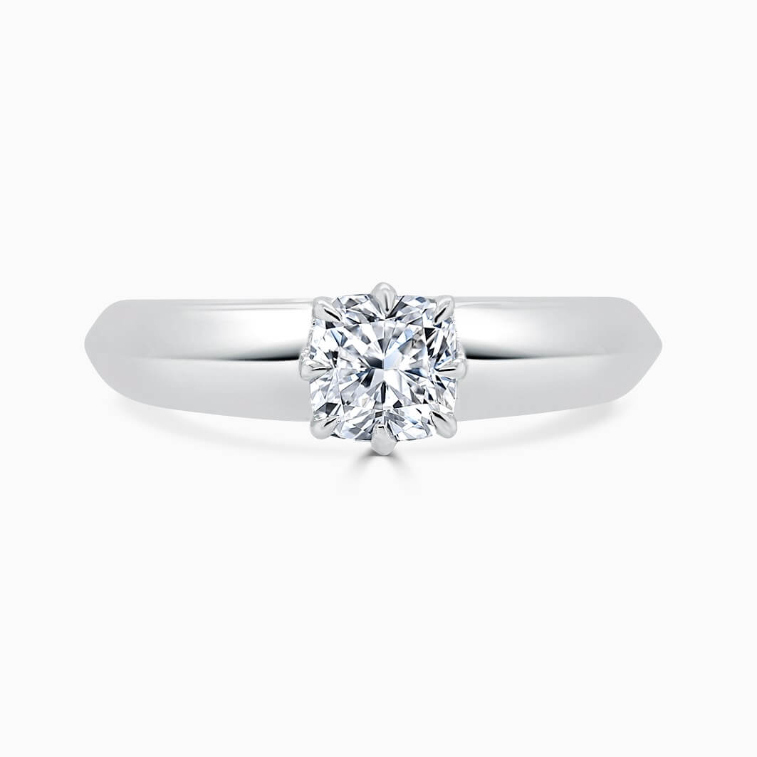 18ct White Gold Cushion Cut 8 Claw With Taper Engagement Ring
