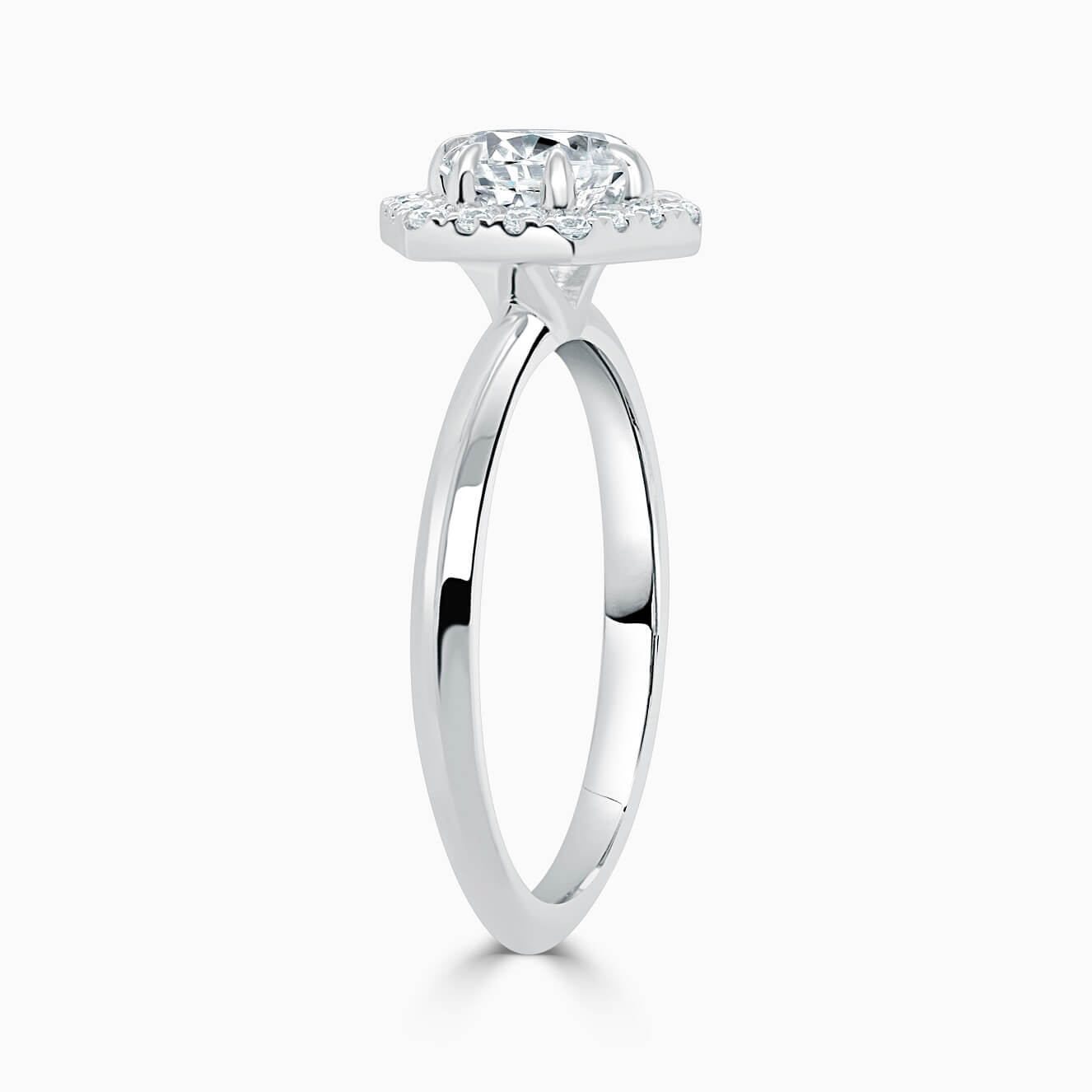 18ct White Gold Round Brilliant Geo Hexagon Halo Engagement Ring