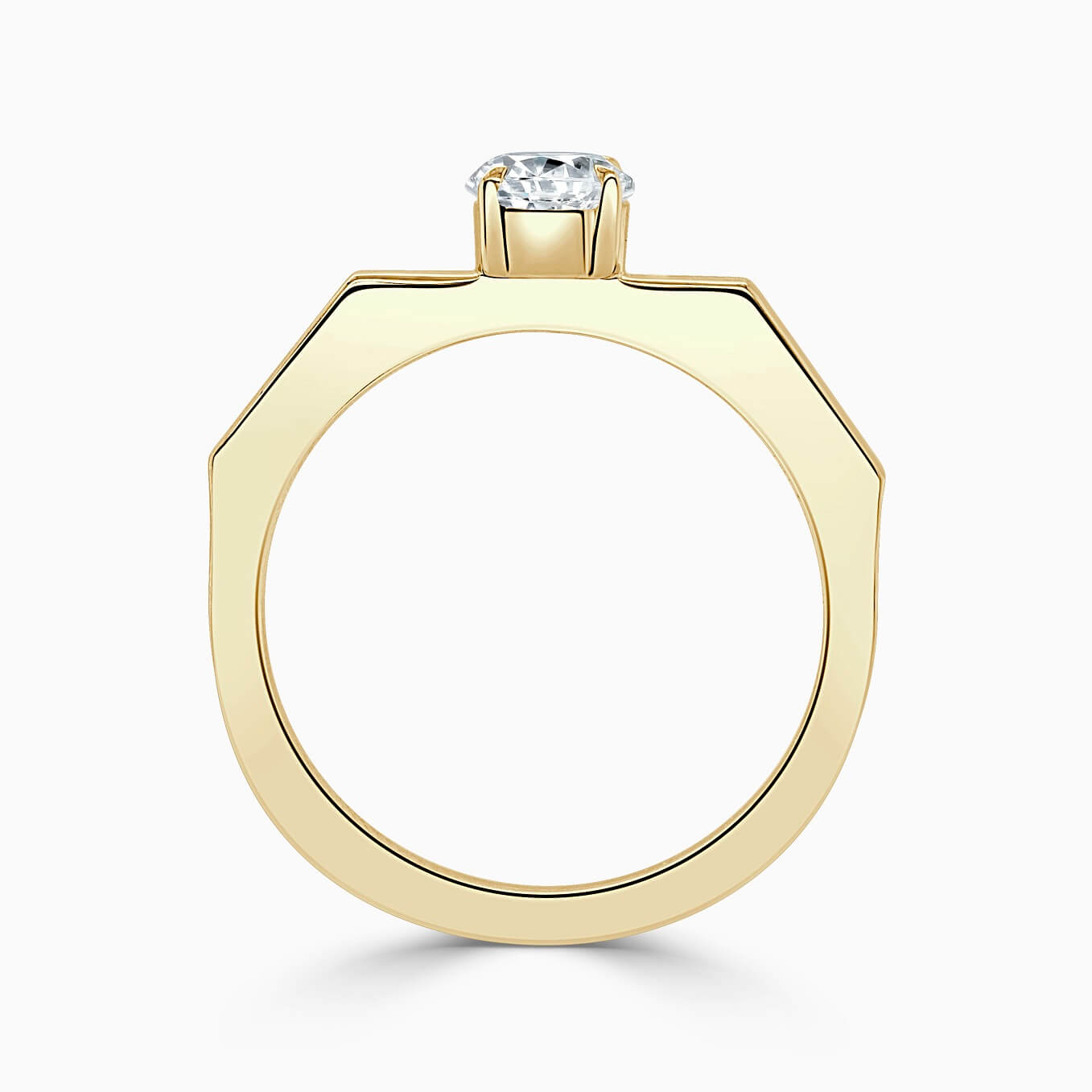18ct Yellow Gold Round Brilliant Geometric Engagement Ring