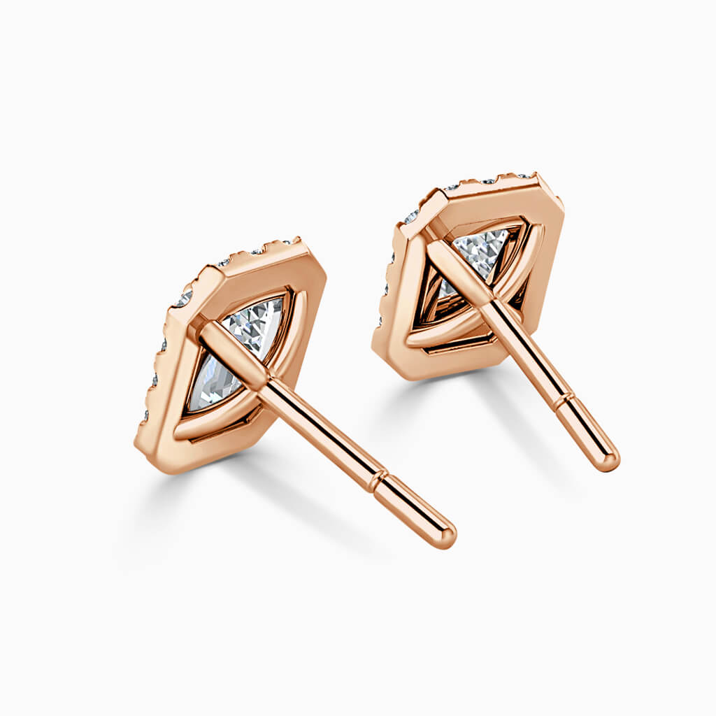 18ct Rose Gold Emerald Cut Halo Diamond Stud Earrings Diamond Earrings