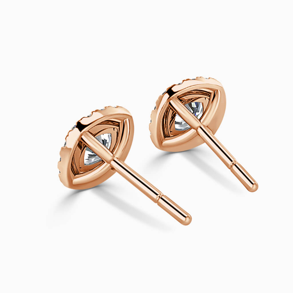 18ct Rose Gold Cushion Cut Halo Diamond Stud Earrings Diamond Earrings