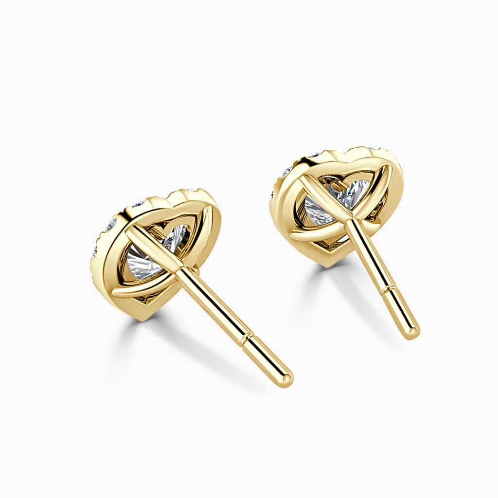 18ct Yellow Gold Heart Shape Halo Diamond Stud Earrings Diamond Earrings