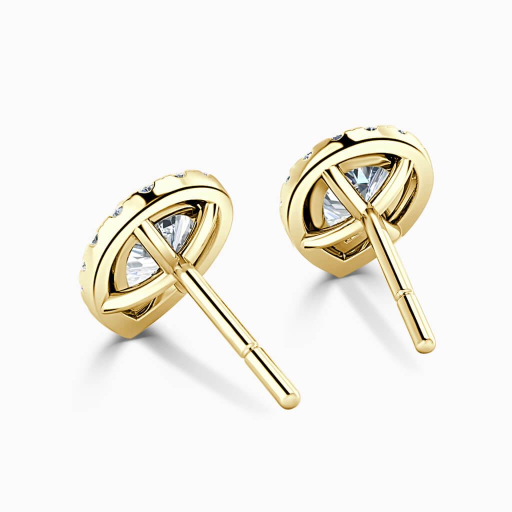 18ct Yellow Gold Pear Shape Halo Diamond Stud Earrings Diamond Earrings