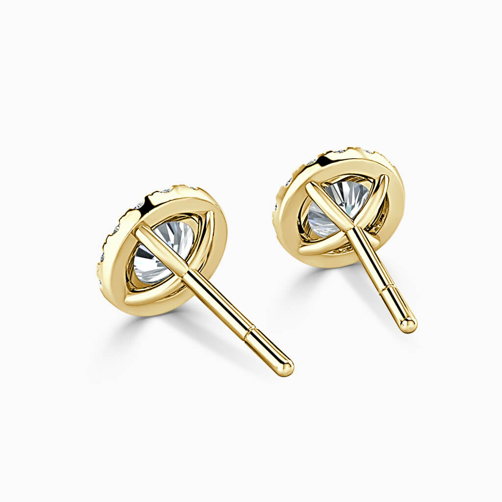 18ct Yellow Gold Round Brilliant Halo Diamond Stud Earrings Diamond Earrings