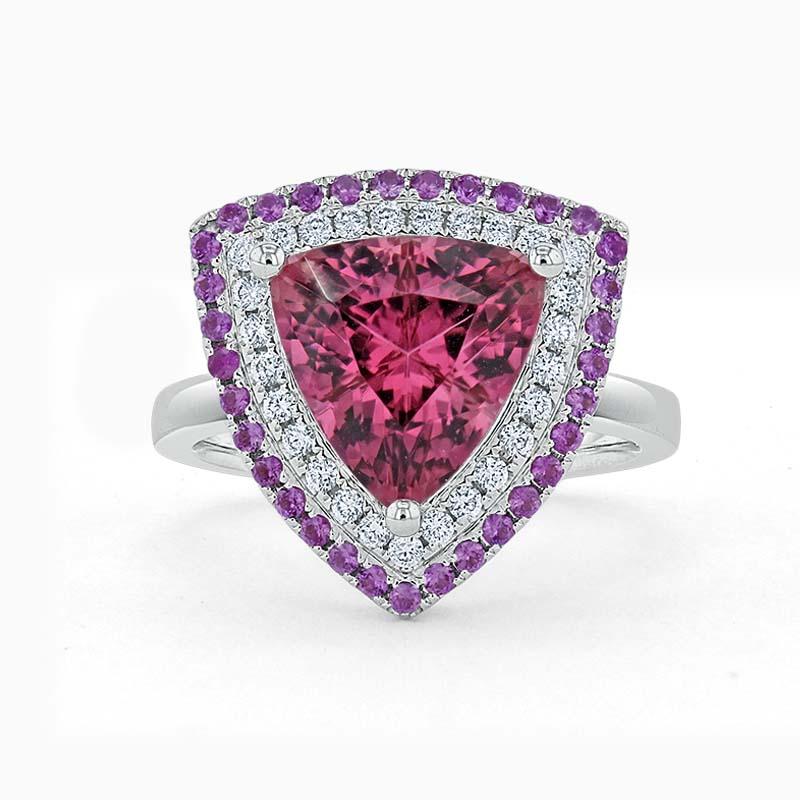 18ct White Gold Trillion Pink Tourmaline & Diamond Double Halo Ring