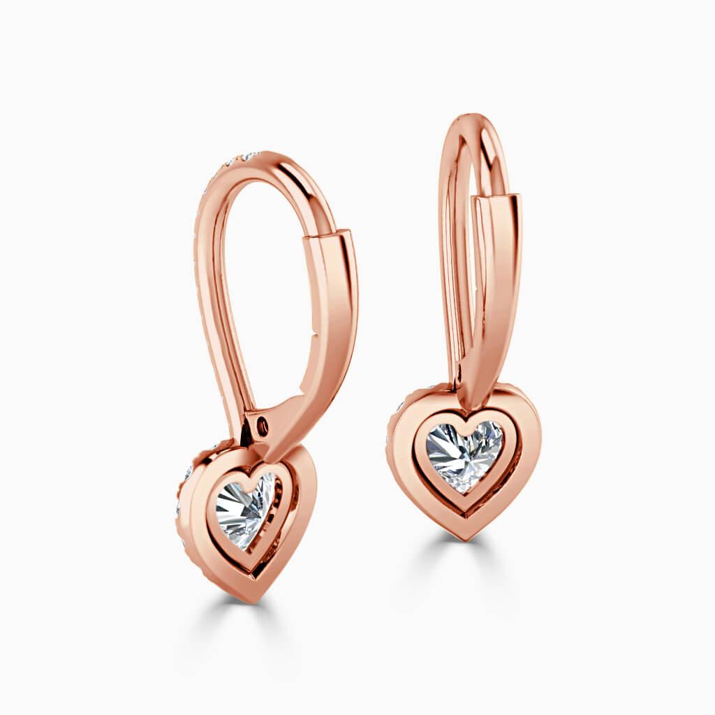 18ct Rose Gold Heart Shape Cutdown Diamond Drop Halo Earrings Diamond Earrings