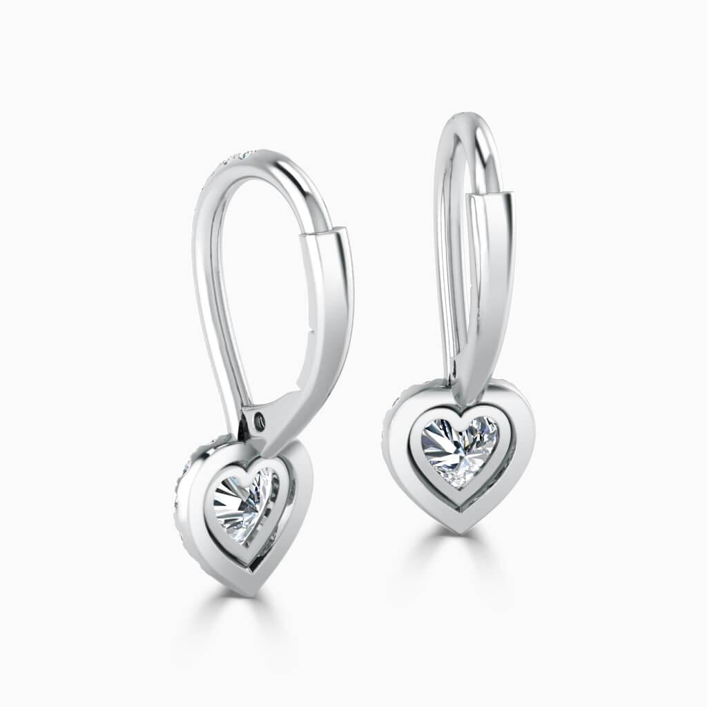 18ct White Gold Heart Shape Cutdown Diamond Drop Halo Earrings Diamond Earrings