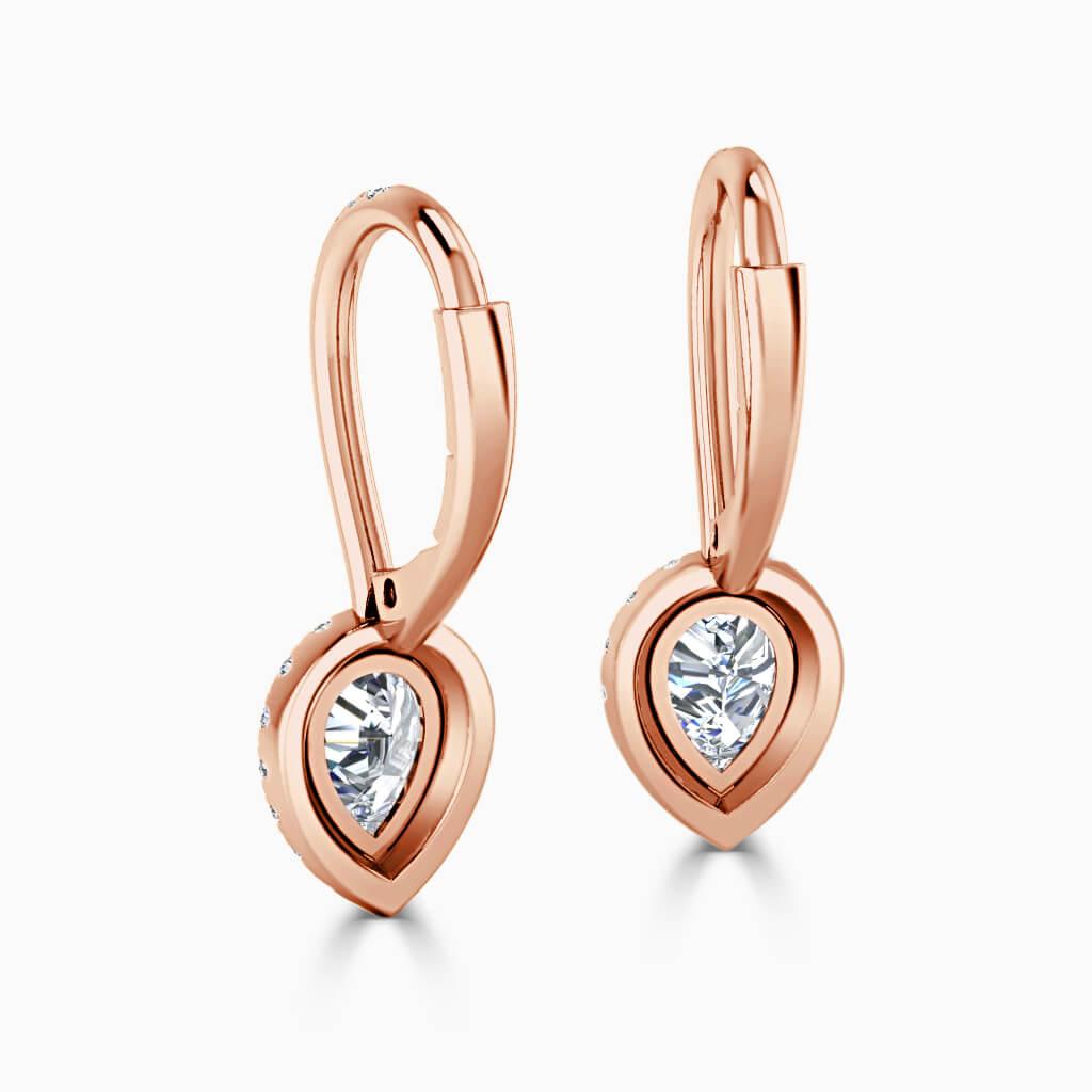 18ct Rose Gold Pear Shape Cutdown Diamond Drop Halo Earrings Diamond Earrings
