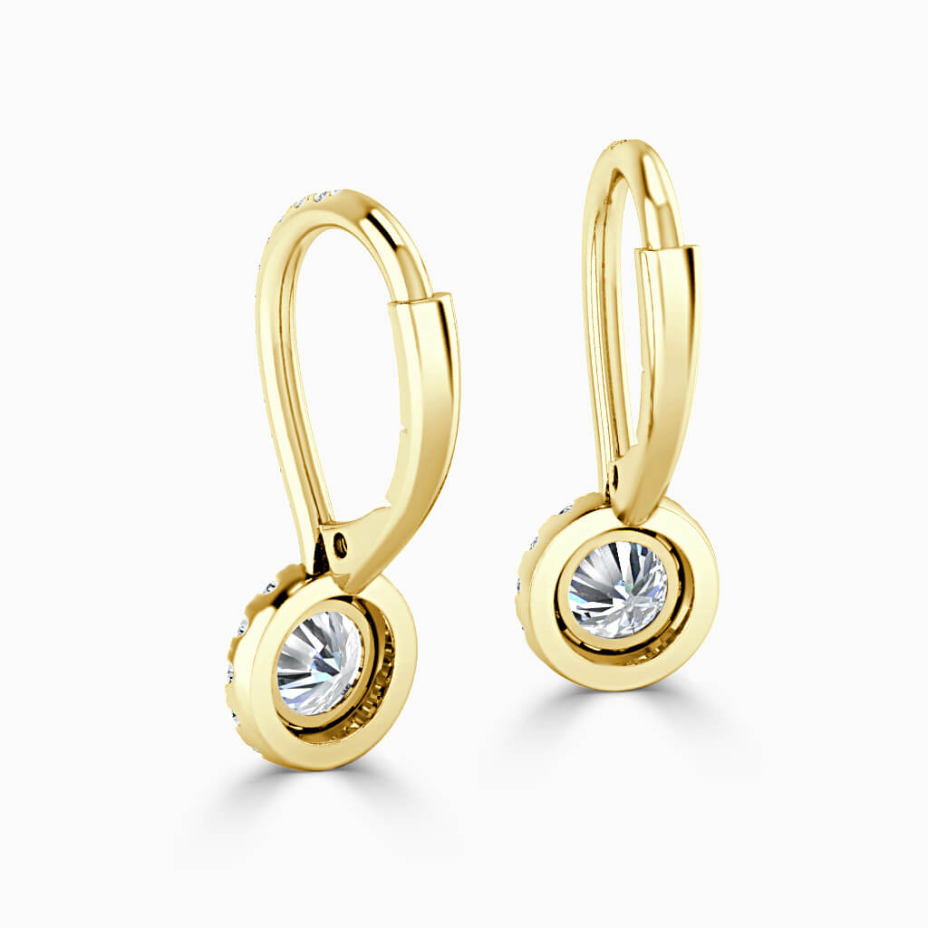 18ct Yellow Gold Round Brilliant Cutdown Diamond Drop Halo Earrings Diamond Earrings