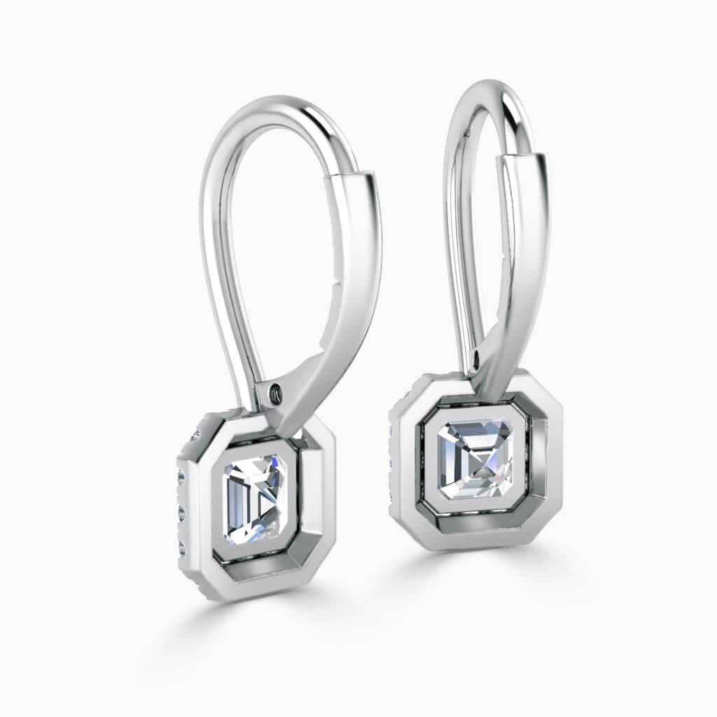 18ct White Gold Asscher Cut Diamond Drop Halo Earrings Diamond Earrings