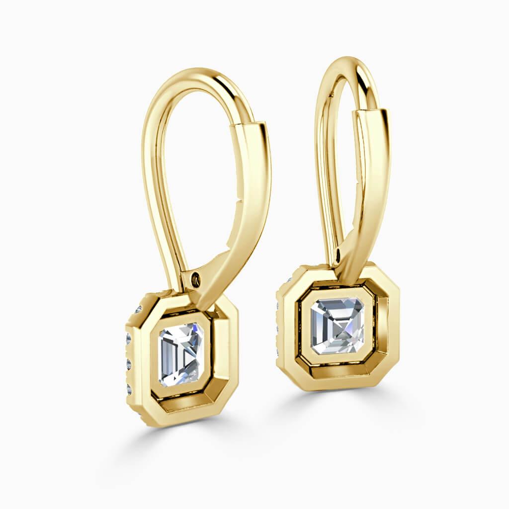 18ct Yellow Gold Asscher Cut Diamond Drop Halo Earrings Diamond Earrings