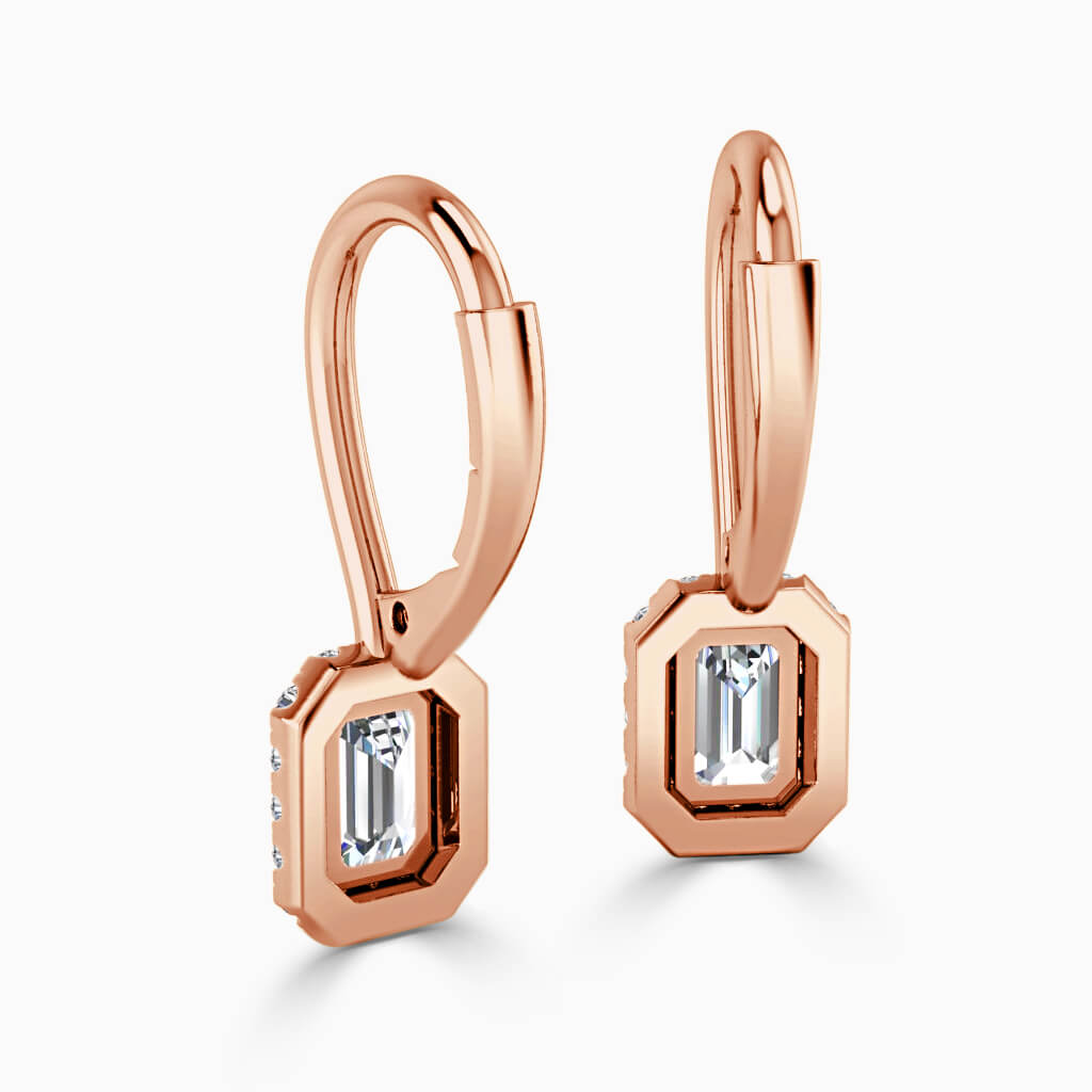 18ct Rose Gold Emerald Cut Diamond Drop Halo Earrings Diamond Earrings
