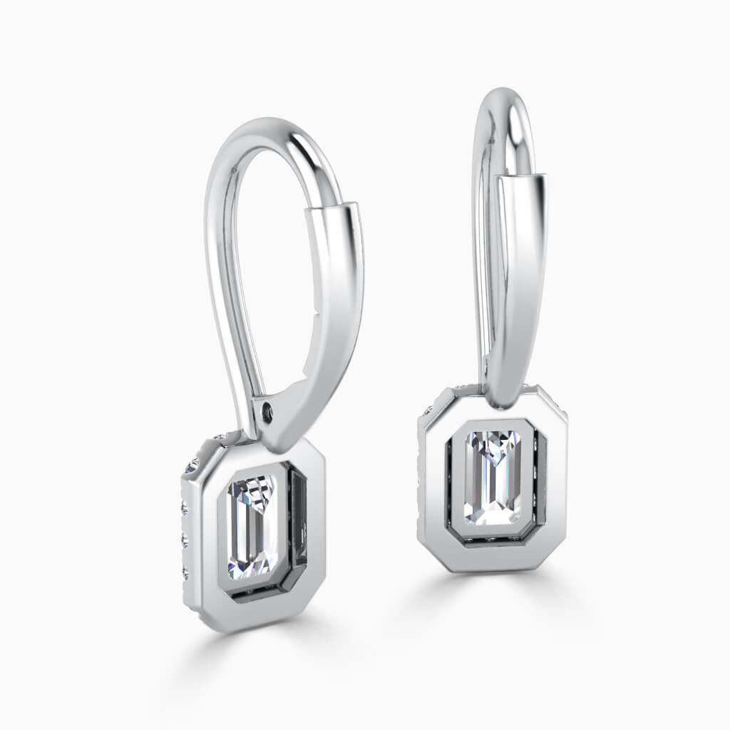 18ct White Gold Emerald Cut Diamond Drop Halo Earrings Diamond Earrings