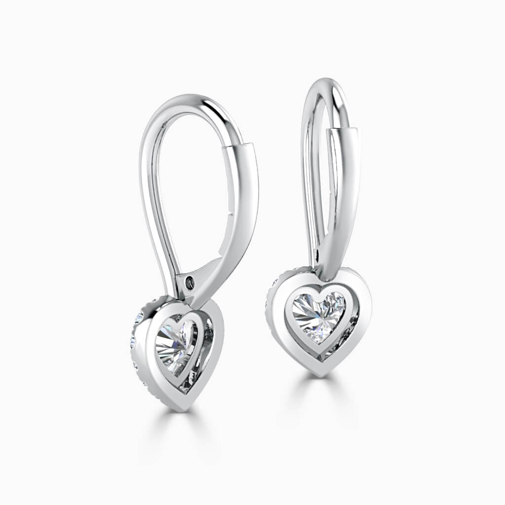 18ct White Gold Heart Shape Diamond Drop Halo Earrings Diamond Earrings