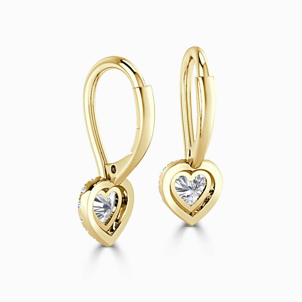18ct Yellow Gold Heart Shape Diamond Drop Halo Earrings Diamond Earrings