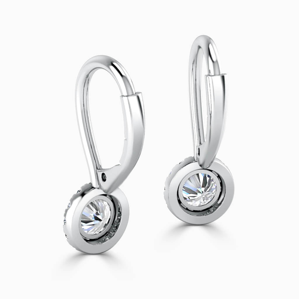 18ct White Gold Round Brilliant Diamond Drop Halo Earrings Diamond Earrings