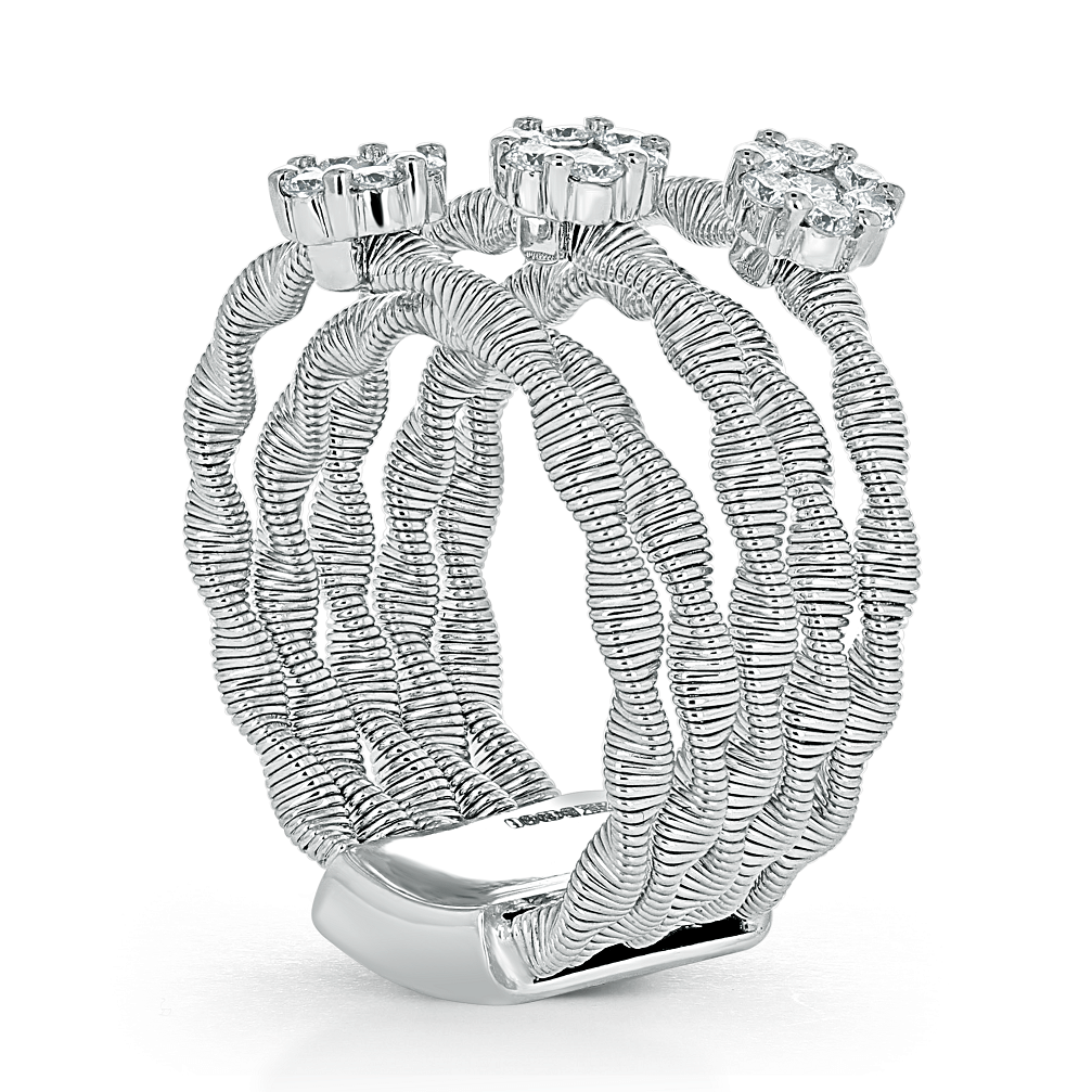 18ct White Gold Florence Diamond Cluster Twist Ring
