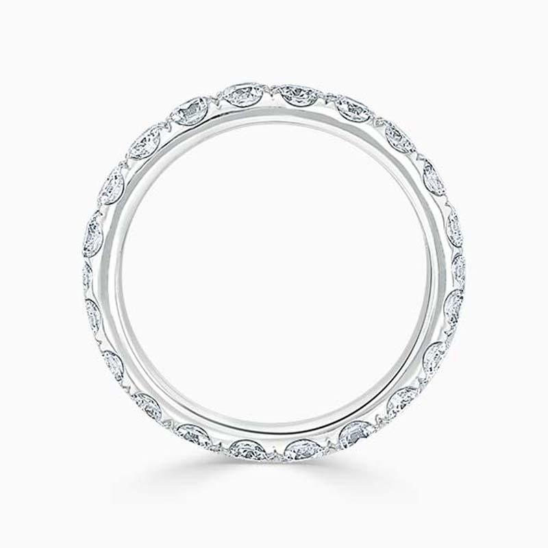 18ct White Gold 3.00mm Round Brilliant Cutdown Set Full Eternity Ring