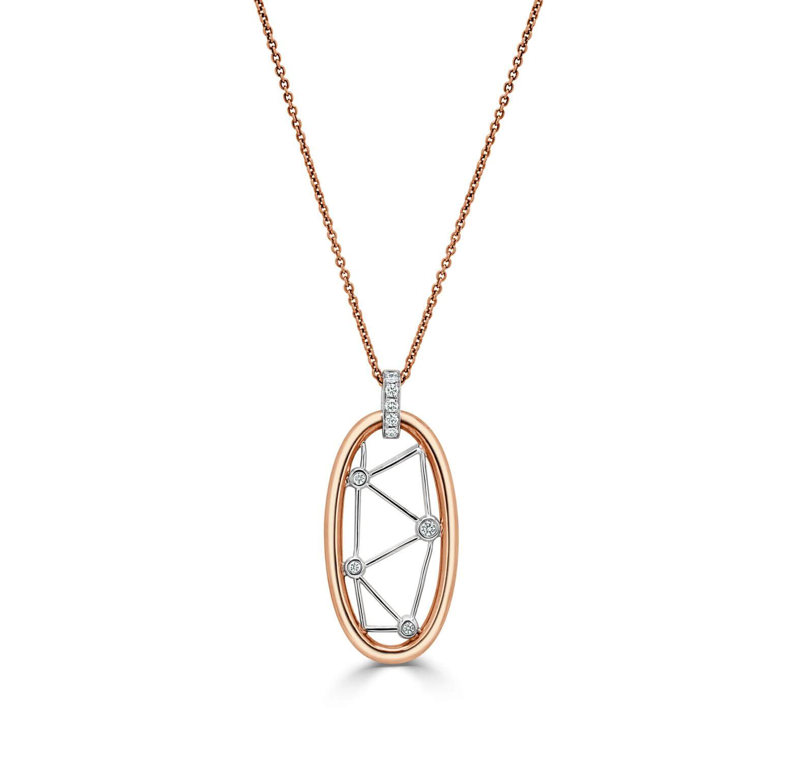 18ct Rose Gold Constellation Diamond Pendant
