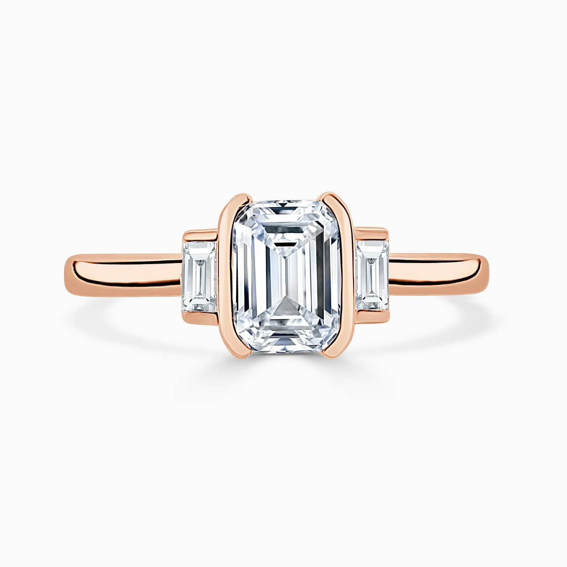 18ct Rose Gold Emerald Cut Art Deco 3 Stone With Baguettes Engagement Ring
