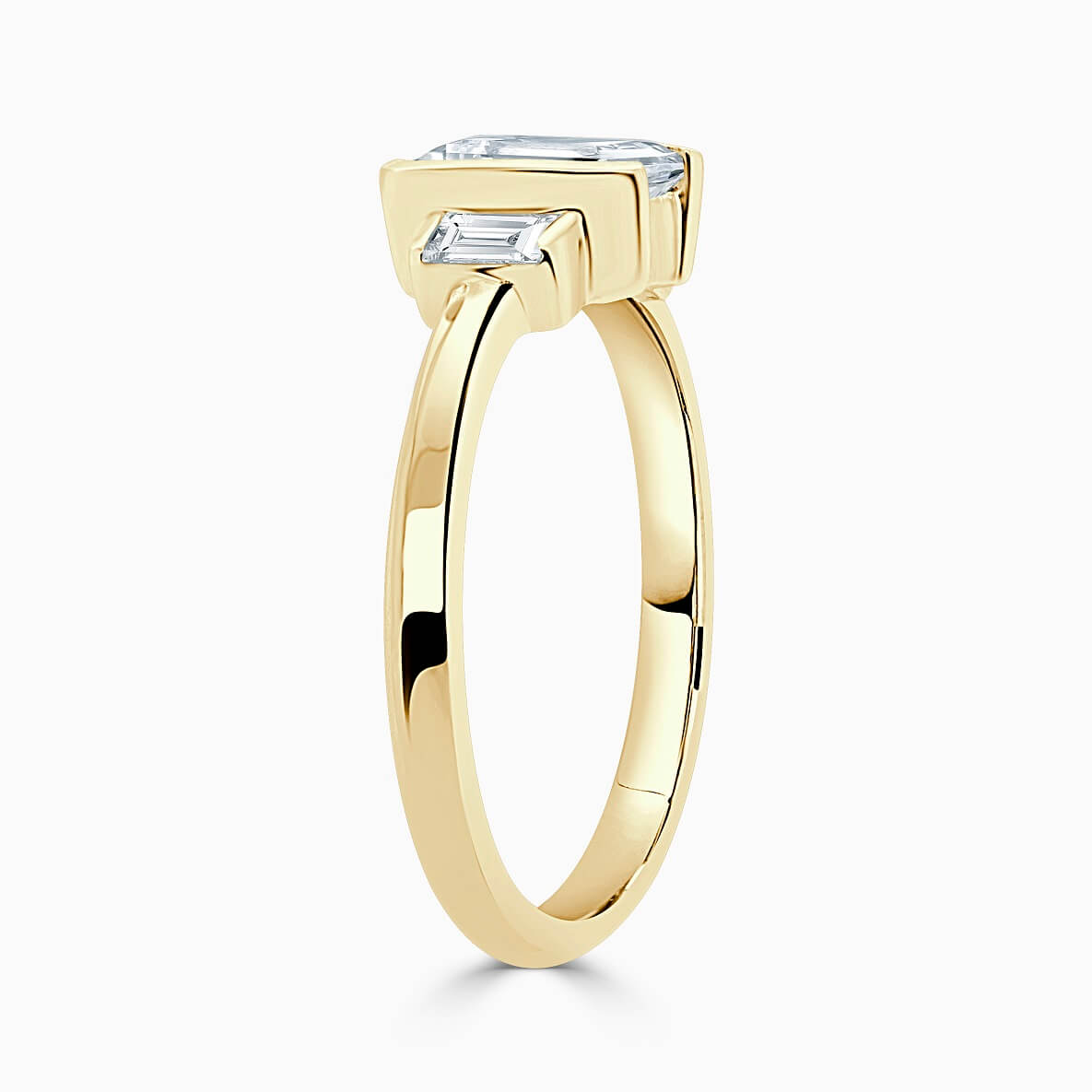 18ct Yellow Gold Emerald Cut Art Deco 3 Stone With Baguettes Engagement Ring