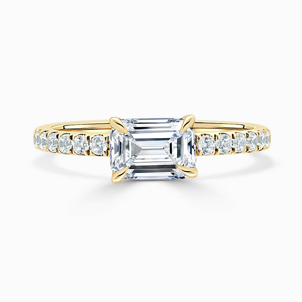 18ct Yellow Gold Emerald Cut Side Cutdown Engagement Ring