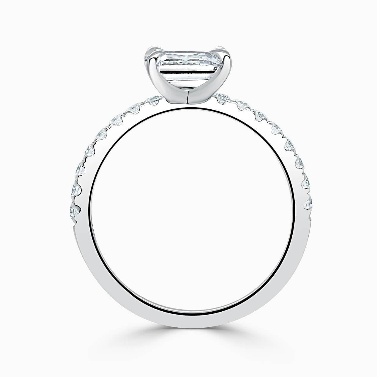 Platinum Emerald Cut Side Cutdown Engagement Ring
