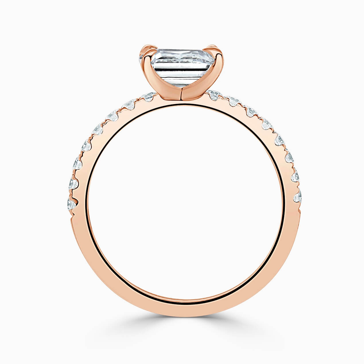 18ct Rose Gold Radiant Cut Side Cutdown Engagement Ring