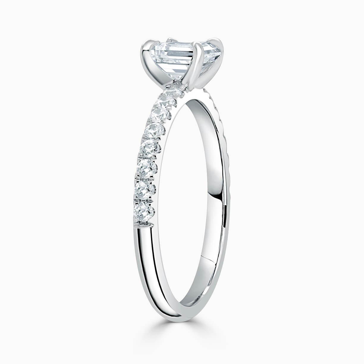 18ct White Gold Radiant Cut Side Cutdown Engagement Ring