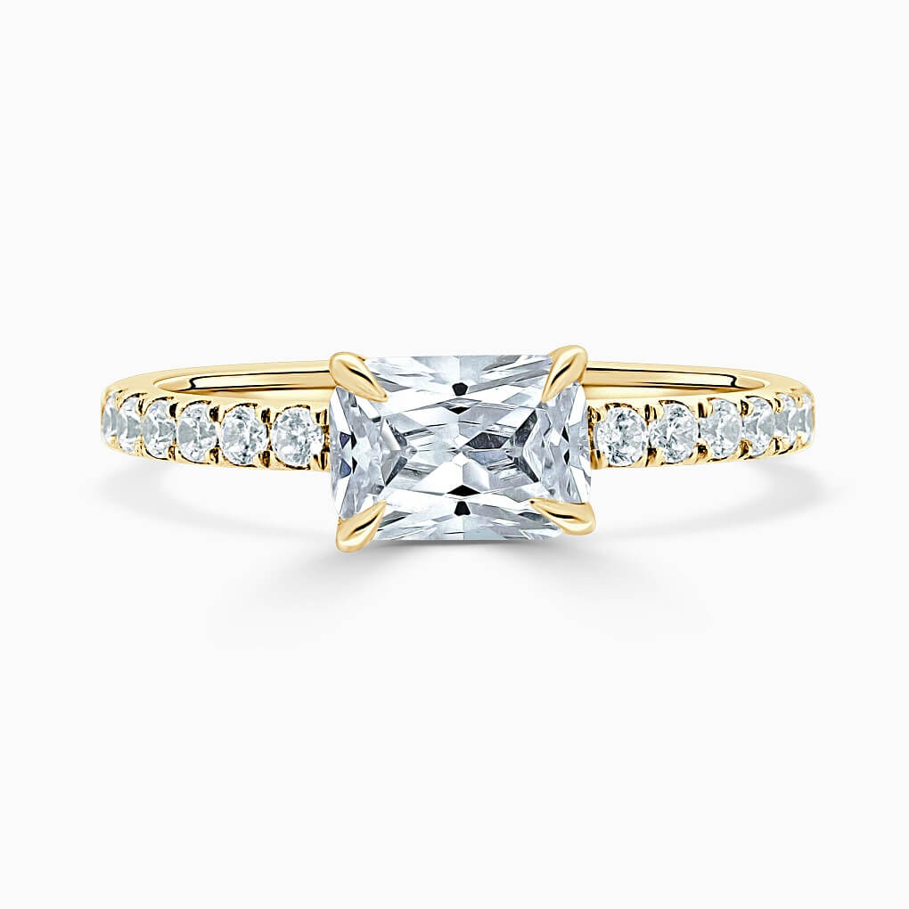 18ct Yellow Gold Radiant Cut Side Cutdown Engagement Ring