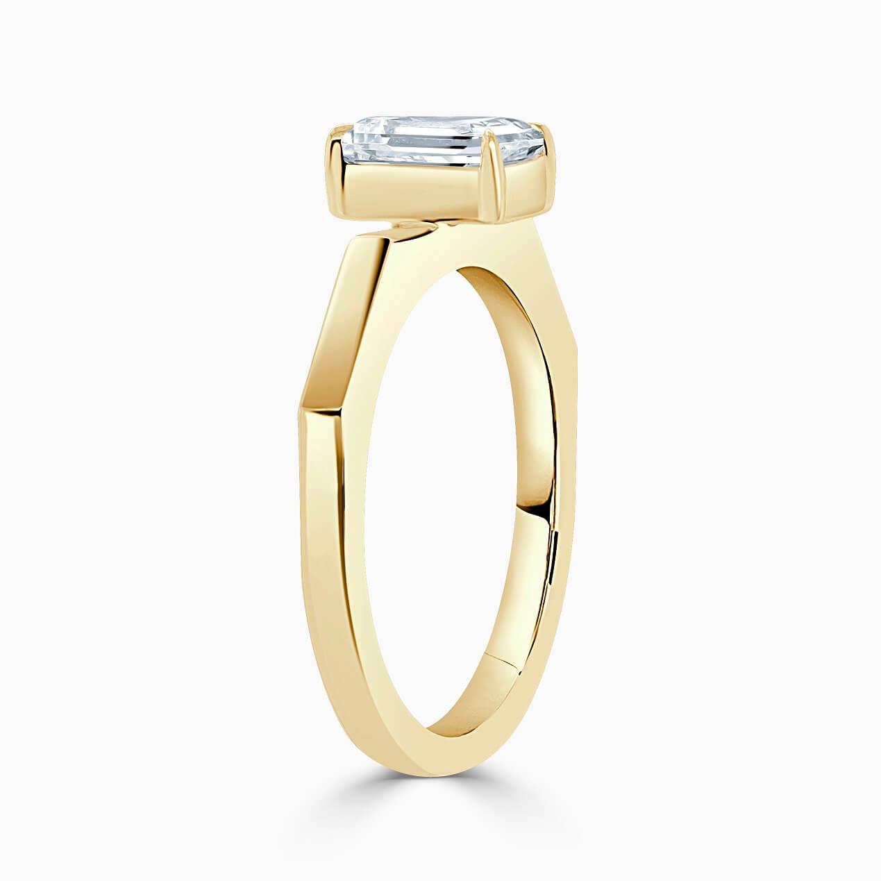 18ct Yellow Gold Emerald Cut Geometric Engagement Ring