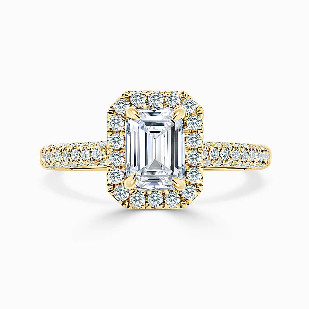 18ct Yellow Gold Emerald Cut Halo With Micro Pave Engagement Ring