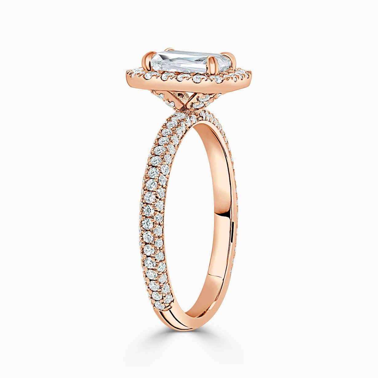 18ct Rose Gold Emerald Cut Halo With Micro Pave Engagement Ring